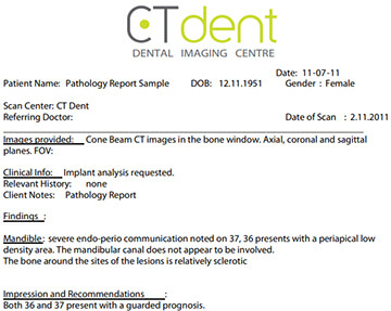 CTDENT Dental Pathology Report