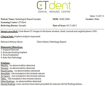 CTDENT Dental Radiology Report